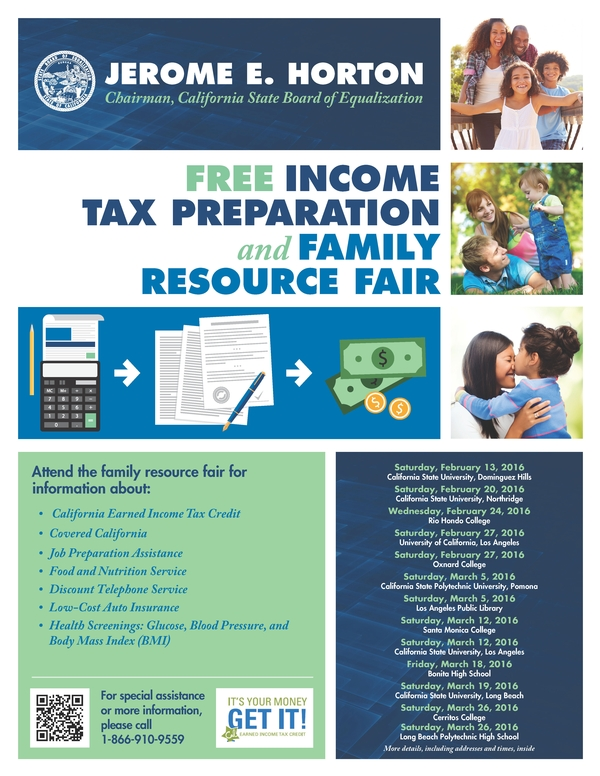 Free Income Tax Preparation and Family Resource Fair