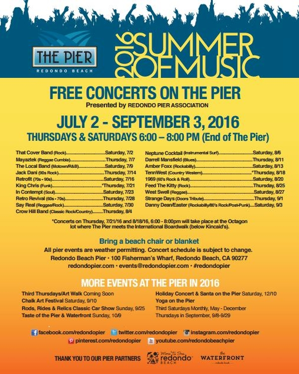 2016 Summer Of Music Free Concerts On The Pier