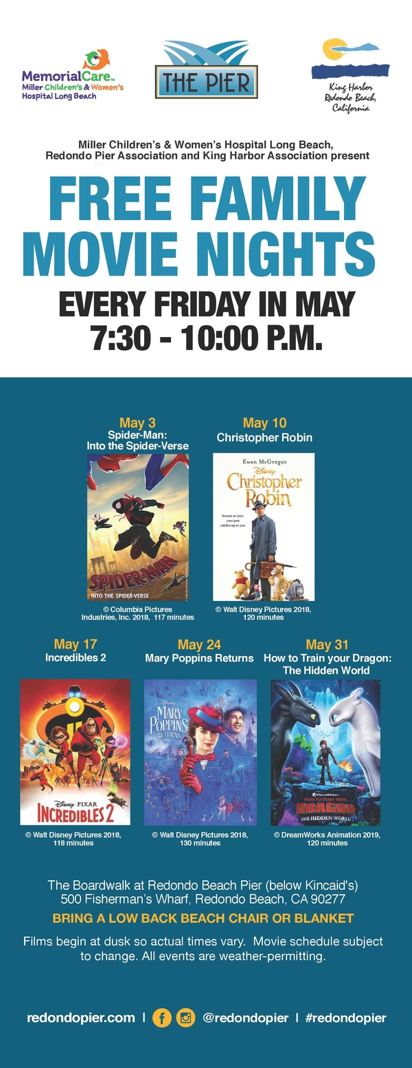 FREE Family Movie Nights Fridays in May at Redondo Pier