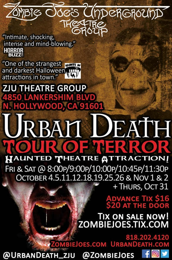 URBAN DEATH TOUR OF TERROR: Haunted Theatre Attraction! (Ages 17+)