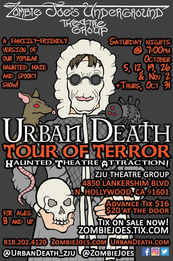 URBAN DEATH TOUR OF TERROR: Haunted Theatre Attraction for kids! (Ages 8+)