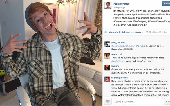 Nick Cannon Under Fire After 'White Face' Instagram Photo