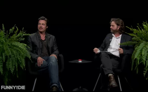 Brad Pitt Spits at Zach Galifianakis on Funny or Die's 'Between Two Ferns'