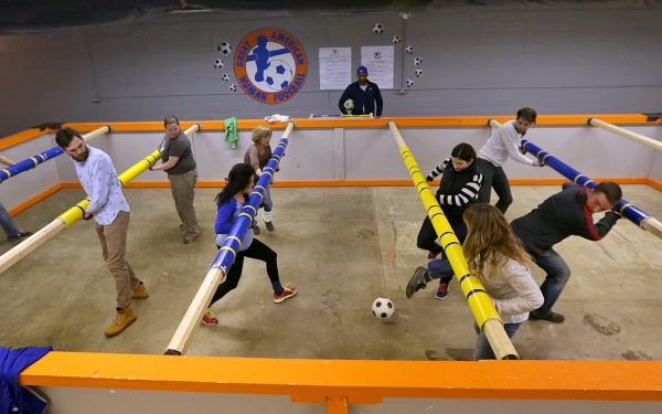 Human foosball features breath-stealing twists, turns