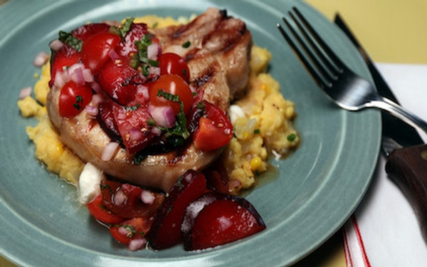 Celebrate summer with fresh corn polenta and pork chops — and maybe a corn salad too