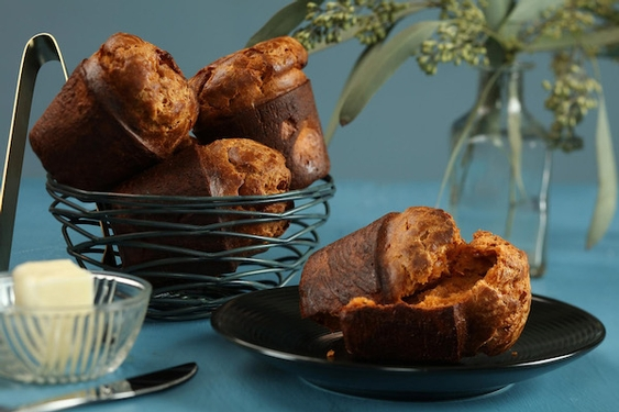 Late-night snack inspired by our favorite munchies: Doritos popovers & fried chicken scones.