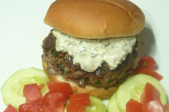 Moroccan beef burgers with cucumber tomato salad