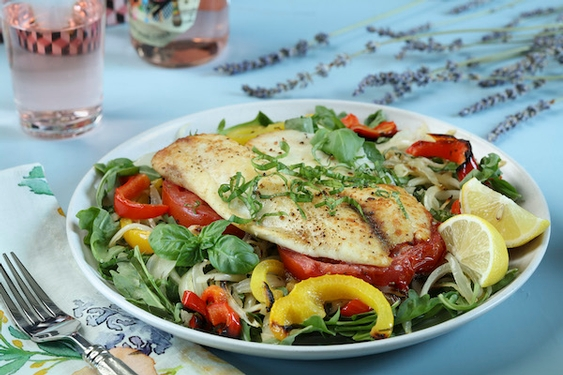 Chilled wine, cold salads for warm evenings