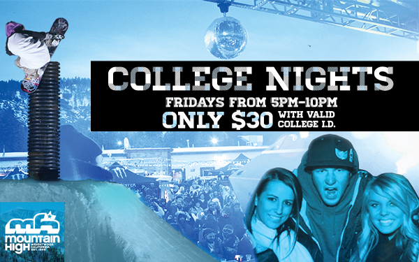 $30 Night Tickets Every Friday 5PM-10PM with College ID
