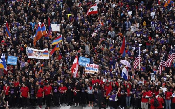 Thousands march in L.A. to mark 100th anniversary of Armenian genocide