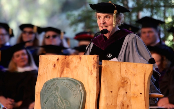 Facing a tough crowd, Madeleine Albright urges Scripps graduates to listen to all perspectives