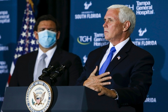 Pence Meets with Florida Gov. DeSantis and Urges Young People to Wear Masks