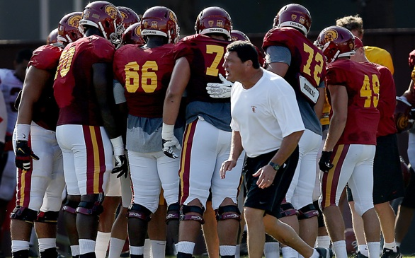New USC Football Coach Ed Orgeron Shows a Style Like Pete Carroll