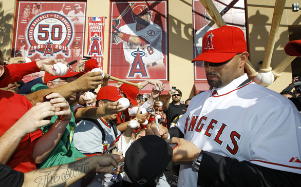 Albert Pujols at Camp with Angels